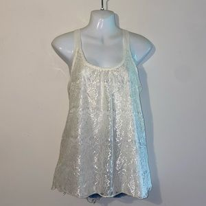 Pretty Good Lace Tank Top Blouse w/ Bow Small